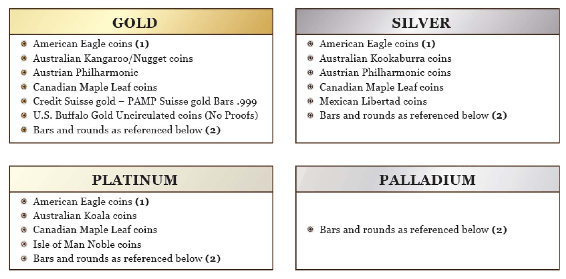 gold and other precious metals you can include