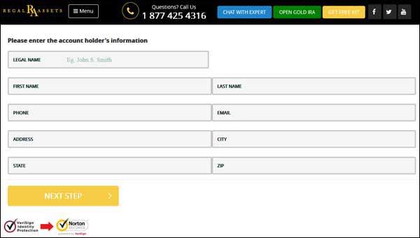 account set up form